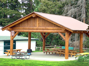 Fairgrounds Log Picnic Shelter