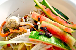 Bowl of compostable food scraps.